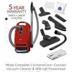 Lightweight!  The best canister vacuum.  Ideal for carpets, mostly floors and all your basic cleaning needs. ​ Includes 285-3 Combo Rug/Floor Tool, Parquet Twister Floor Brush, Accessories + Bonus Tools ​ **HEPA Filtration** ​ 5 Year Parts / 10 Year Motor Warranty
